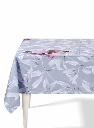 The Mia Yaprak Masa Örtüsü - 230 x 150 Cm - Gri Beyaz Beyaz